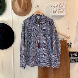 Tops - 2 for $25 | JCP silk blend navy & white blouse